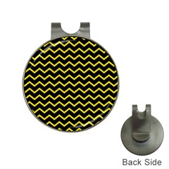 Yellow Chevron Hat Clips With Golf Markers by jumpercat