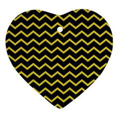 Yellow Chevron Heart Ornament (two Sides) by jumpercat