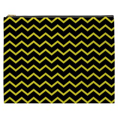 Yellow Chevron Cosmetic Bag (xxxl)  by jumpercat