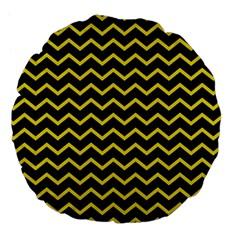Yellow Chevron Large 18  Premium Flano Round Cushions by jumpercat