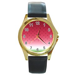 Watermelon Round Gold Metal Watch by jumpercat