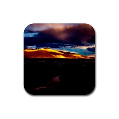 India Sunset Sky Clouds Mountains Rubber Square Coaster (4 Pack)  by BangZart