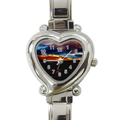 India Sunset Sky Clouds Mountains Heart Italian Charm Watch by BangZart