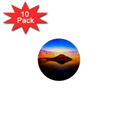 Crater Lake Oregon Mountains 1  Mini Buttons (10 Pack)  by BangZart