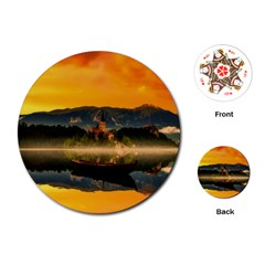 Bled Slovenia Sunrise Fog Mist Playing Cards (round)  by BangZart