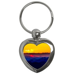 Austria Landscape Sky Clouds Key Chains (heart)  by BangZart