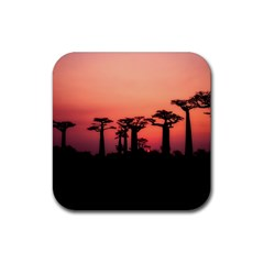 Baobabs Trees Silhouette Landscape Rubber Coaster (square)  by BangZart