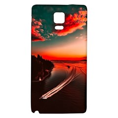 Sunset Dusk Boat Sea Ocean Water Galaxy Note 4 Back Case by BangZart