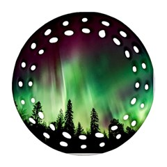 Aurora Borealis Northern Lights Round Filigree Ornament (two Sides)