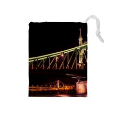 Budapest Hungary Liberty Bridge Drawstring Pouches (medium)  by BangZart