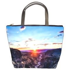 Iceland Landscape Mountains Stream Bucket Bags