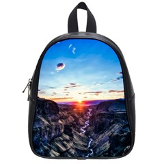 Iceland Landscape Mountains Stream School Bag (small) by BangZart