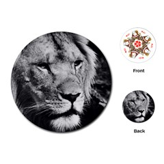 Africa Lion Male Closeup Macro Playing Cards (round)  by BangZart