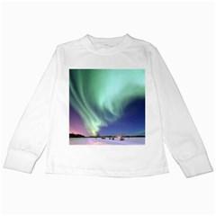 Aurora Borealis Alaska Space Kids Long Sleeve T Shirts