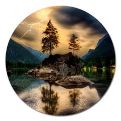 Sunset Dusk Sky Clouds Lightning Magnet 5  (round) by BangZart