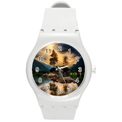 Sunset Dusk Sky Clouds Lightning Round Plastic Sport Watch (m) by BangZart