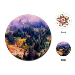 Landscape Fog Mist Haze Forest Playing Cards (round)  by BangZart