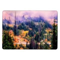 Landscape Fog Mist Haze Forest Samsung Galaxy Tab 10 1  P7500 Flip Case by BangZart