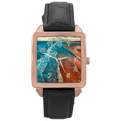 Sea Ocean Coastline Coast Sky Rose Gold Leather Watch  by BangZart