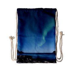 Aurora Borealis Lofoten Norway Drawstring Bag (small) by BangZart