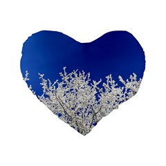 Crown Aesthetic Branches Hoarfrost Standard 16  Premium Heart Shape Cushions