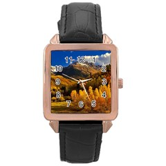 Colorado Fall Autumn Colorful Rose Gold Leather Watch  by BangZart