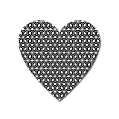 Asterisk Black White Pattern Heart Magnet by Cveti