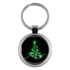 Christmas Tree Background Key Chains (round)  by BangZart