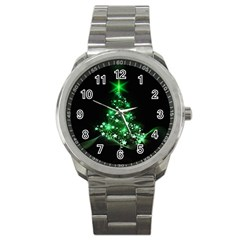Christmas Tree Background Sport Metal Watch by BangZart