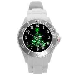 Christmas Tree Background Round Plastic Sport Watch (l)
