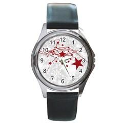 Christmas Star Snowflake Round Metal Watch by BangZart