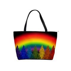 Christmas Colorful Rainbow Colors Shoulder Handbags by BangZart