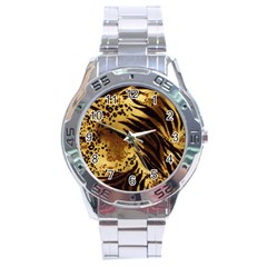 Pattern Tiger Stripes Print Animal Stainless Steel Analogue Watch by BangZart