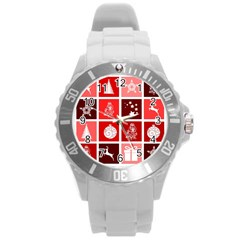 Christmas Map Innovative Modern Round Plastic Sport Watch (l)