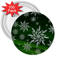Christmas Star Ice Crystal Green Background 3  Buttons (100 Pack)