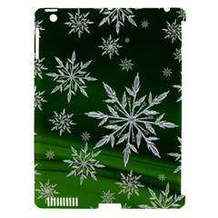 Christmas Star Ice Crystal Green Background Apple Ipad 3/4 Hardshell Case (compatible With Smart Cover) by BangZart