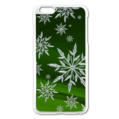 Christmas Star Ice Crystal Green Background Apple Iphone 6 Plus/6s Plus Enamel White Case by BangZart