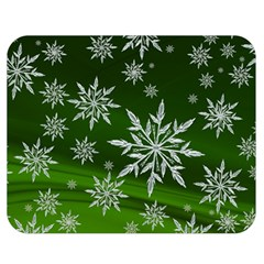 Christmas Star Ice Crystal Green Background Double Sided Flano Blanket (medium)  by BangZart