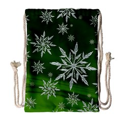 Christmas Star Ice Crystal Green Background Drawstring Bag (large) by BangZart