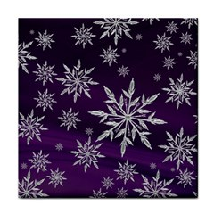 Christmas Star Ice Crystal Purple Background Tile Coasters by BangZart