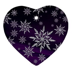 Christmas Star Ice Crystal Purple Background Ornament (heart) by BangZart
