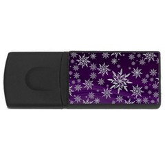 Christmas Star Ice Crystal Purple Background Rectangular Usb Flash Drive by BangZart