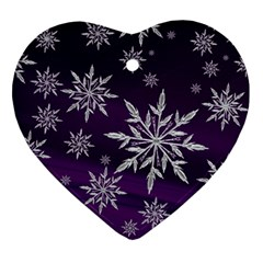 Christmas Star Ice Crystal Purple Background Heart Ornament (two Sides) by BangZart