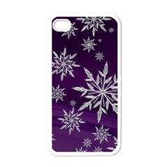 Christmas Star Ice Crystal Purple Background Apple Iphone 4 Case (white) by BangZart