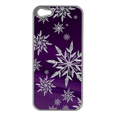 Christmas Star Ice Crystal Purple Background Apple Iphone 5 Case (silver) by BangZart