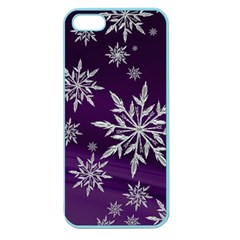 Christmas Star Ice Crystal Purple Background Apple Seamless Iphone 5 Case (color) by BangZart