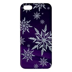 Christmas Star Ice Crystal Purple Background Apple Iphone 5 Premium Hardshell Case by BangZart