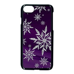 Christmas Star Ice Crystal Purple Background Apple Iphone 8 Seamless Case (black) by BangZart
