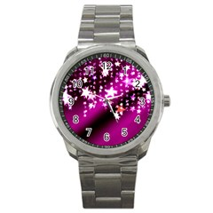 Background Christmas Star Advent Sport Metal Watch by BangZart