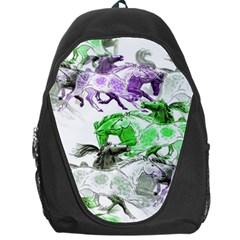 Horse Horses Animal World Green Backpack Bag